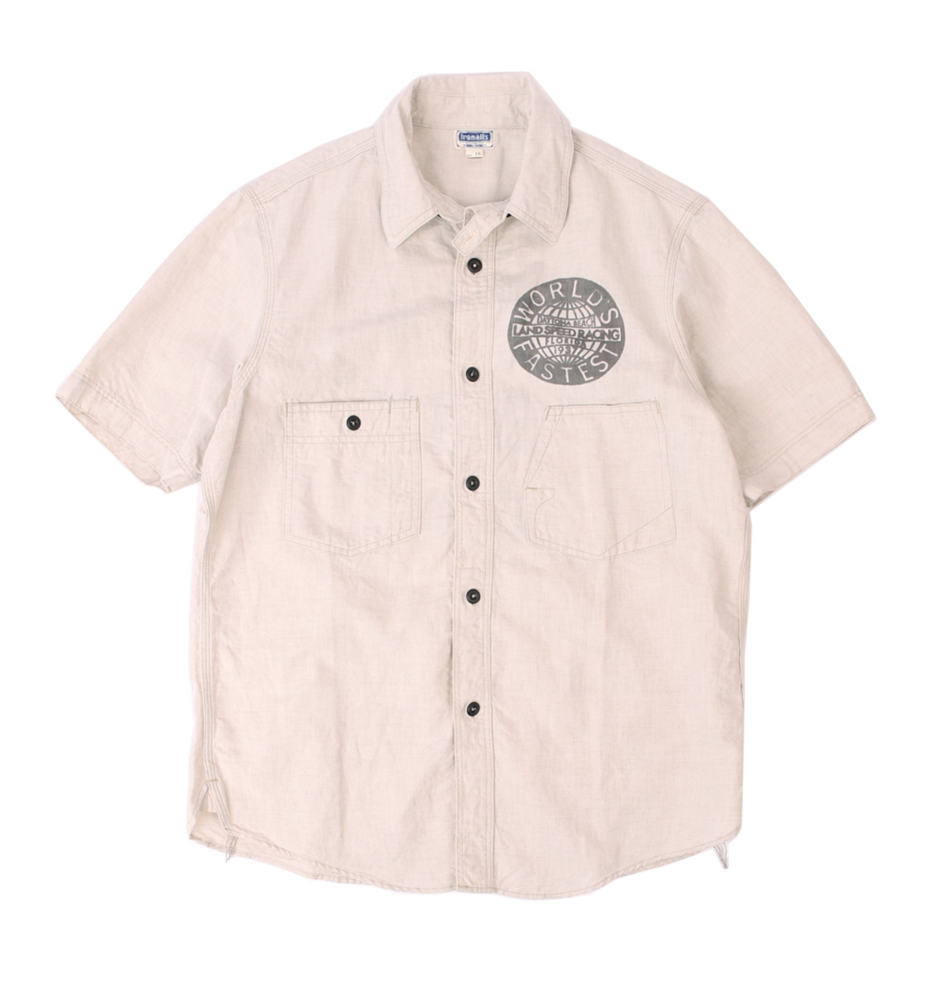 "[THE IRONALL FACTORIES CO. ]Work Short Sleeve Shirts""1937 DAYTONA RECORD BREAKER""(Cream)"