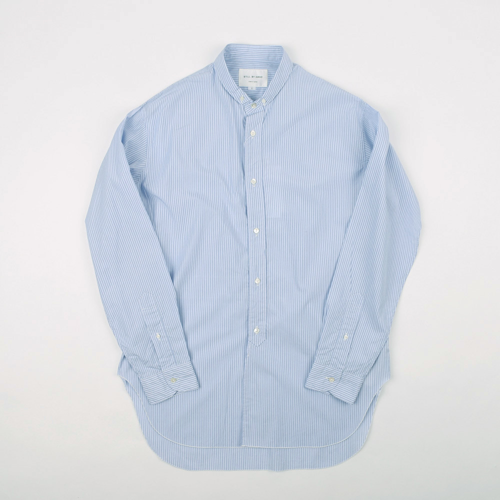 NARROW COLLAR LONG SHIRT (Blue Stripe)