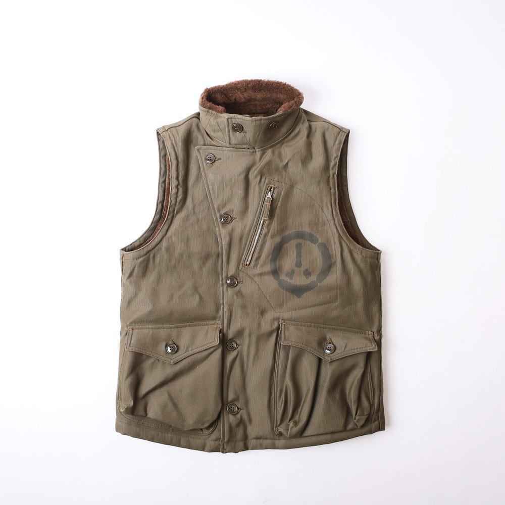 "[Union Special Overalls]Winter Aviator's Vest""US AIR SERVICE A.E.F VETERAN""(Khaki Green)"
