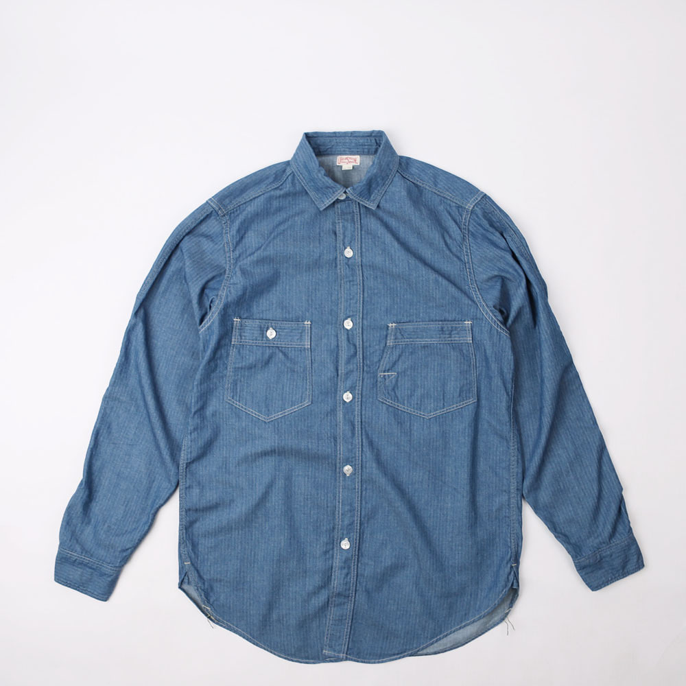 "[Union Special Overalls]Work Shirt""Engineer Shirt""(6 oz Indigo Mini Herringbone)"