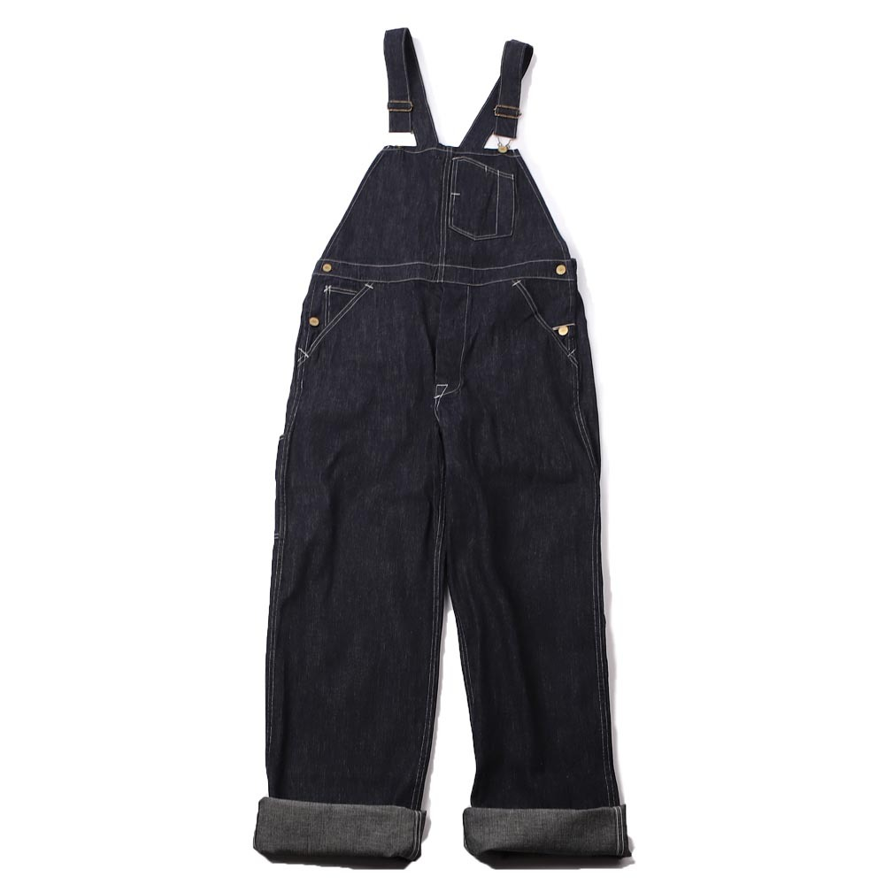HEAD LIGHT DENIM OVERALL9.5oz BLUE DENIM LOW BACK OVERALLS (Indigo)