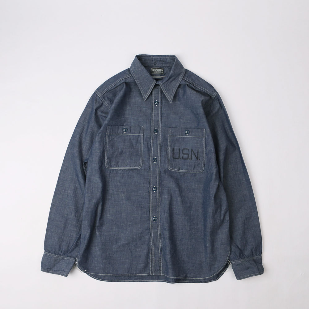 Military Chambray ShirtJACKTAR BLUE COMBINATON SHIRT40's STYLE USN PRINTED(5oz Indigo)
