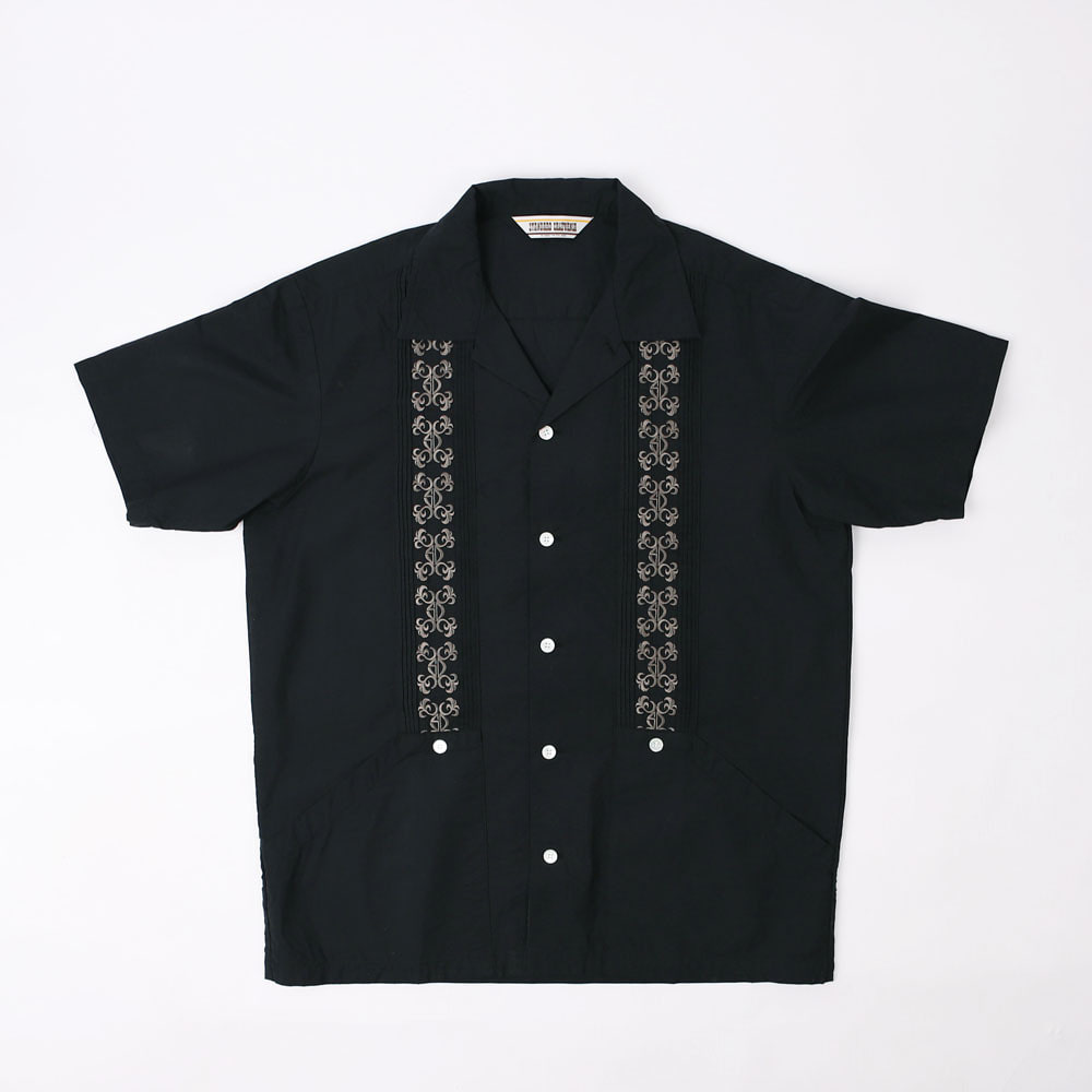 SD Coolmax Linen Chambray Guayabera Shirt(Black)