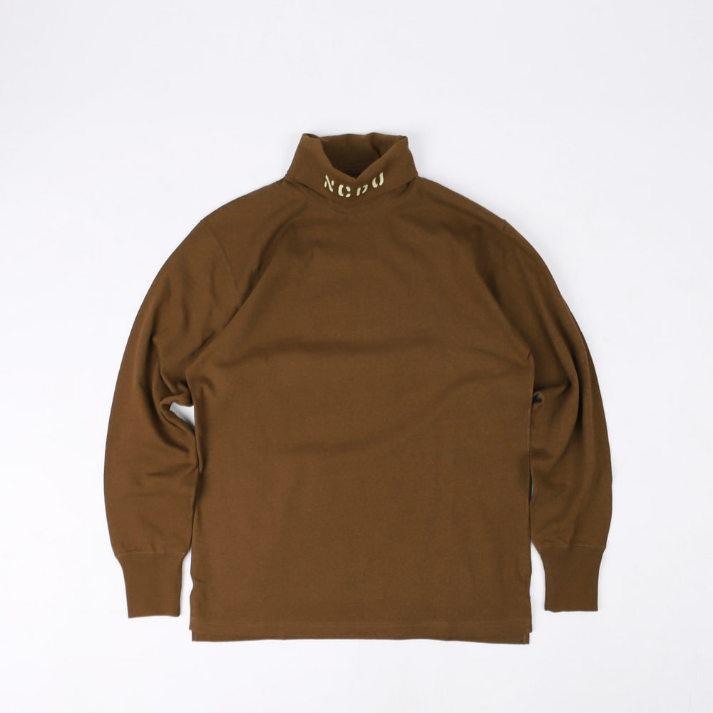 "[Power Wear]Turtle Neck Long Sleeve T-Shirt""N.C.D.U 7TH NBB""(Brown)"