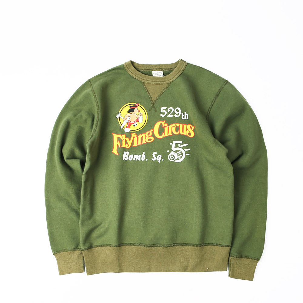 "LoopwheelSweatshirt ""529th BOMB.SQ. FLYING CIRCUS""(Olive Drab)"