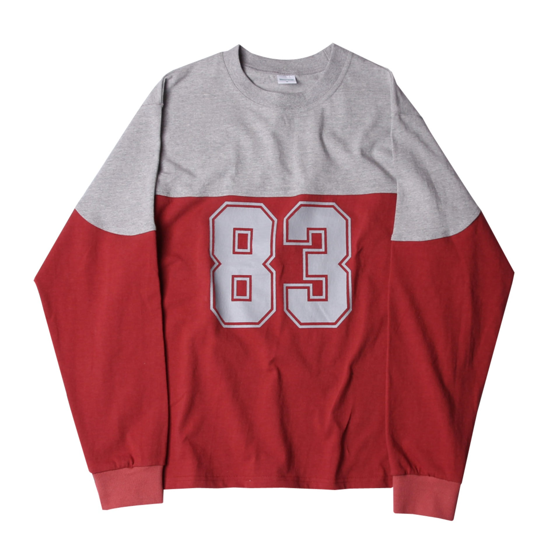 83 FOOTBALL LONG TEE (Grey x Red)