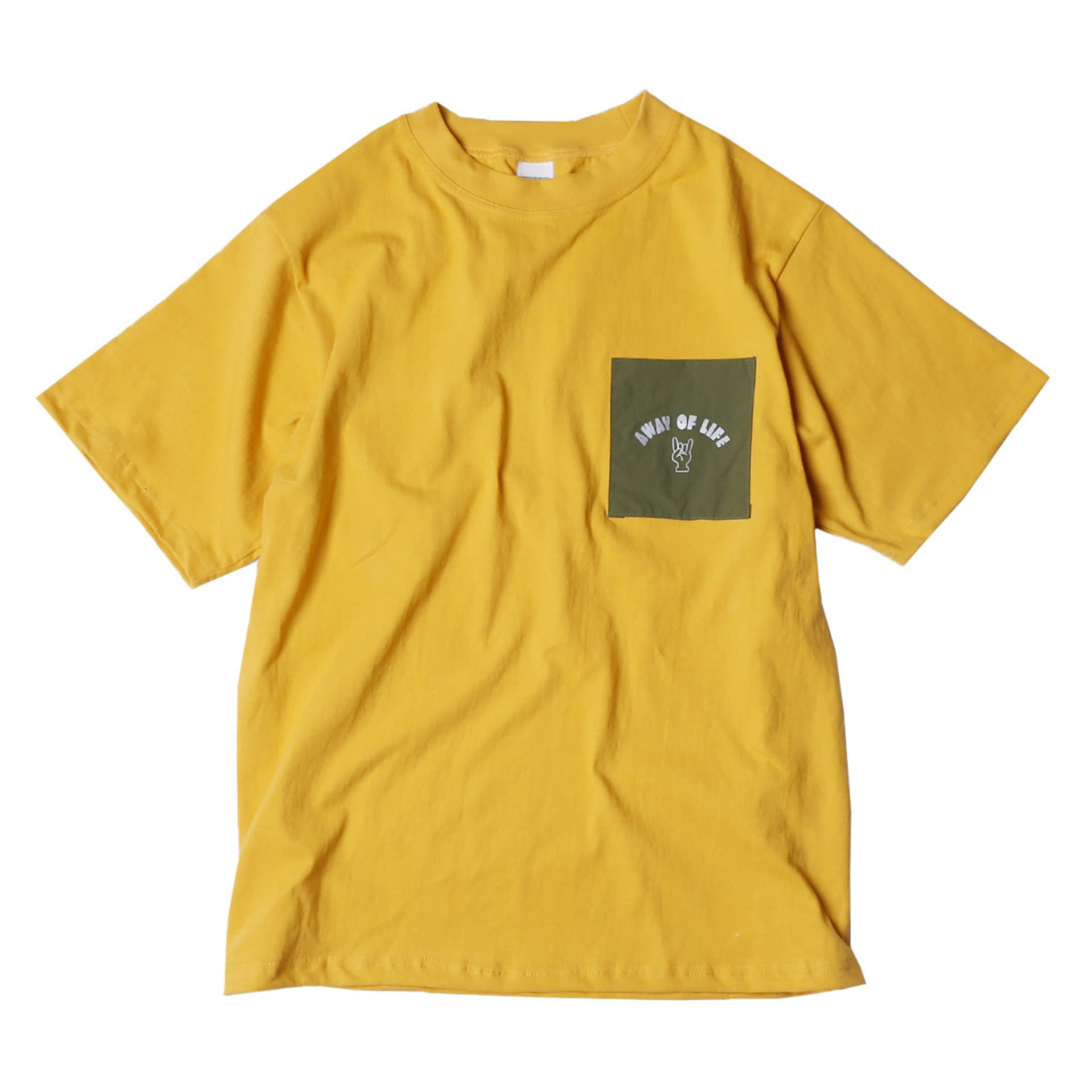 AWAY OF LIFE POCKET T SHIRTS(MUSTARD)