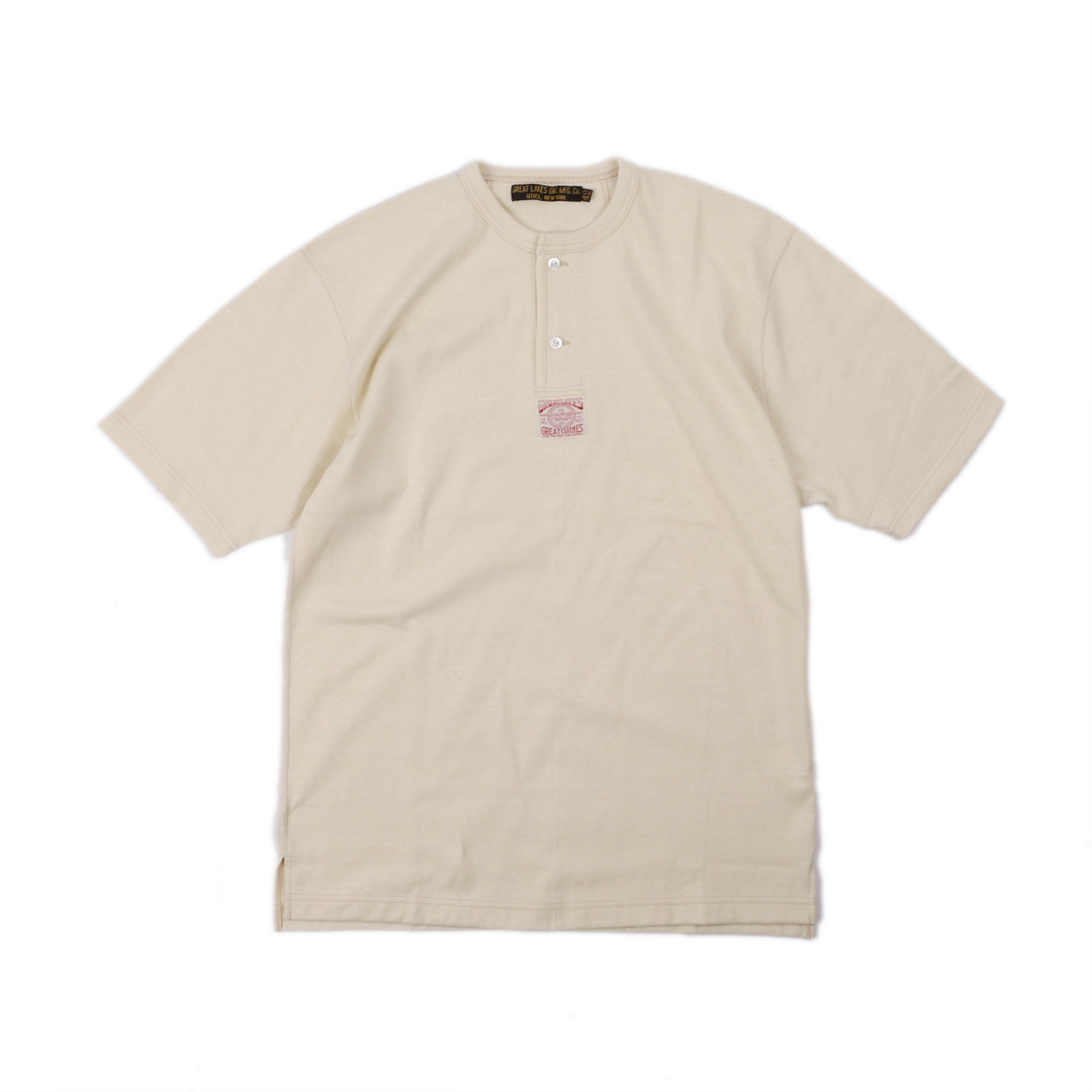 "[Great Lakes GMT. MFG. Co.]""Henley Necked S/S Shirt"" (Straw Cream)"