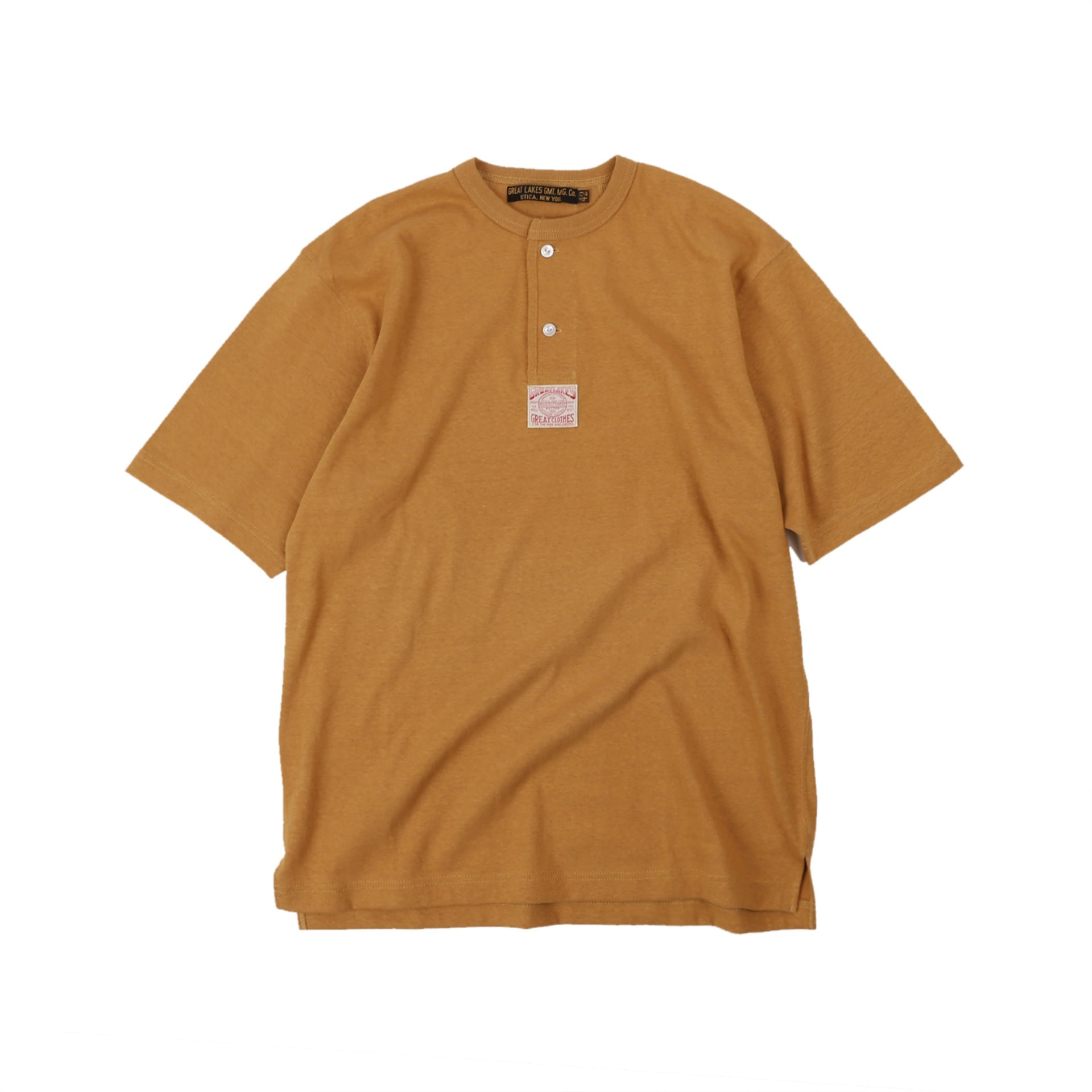 "[Great Lakes GMT. MFG. Co.]""Henley Necked S/S Shirt"" (Dark Camel)"