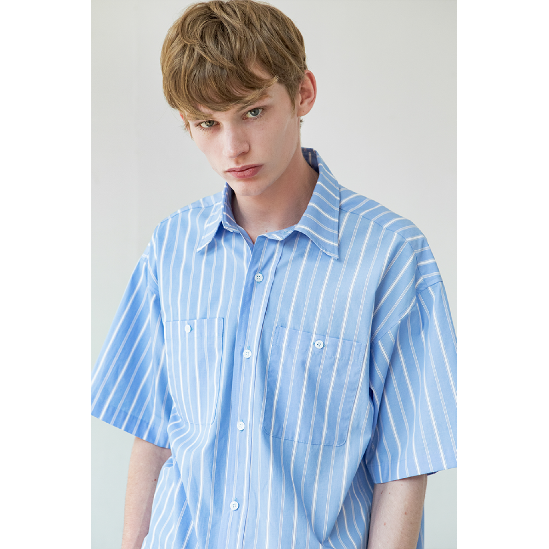 OVERSIZED HALF SHIRT (MULTI STRIPE)