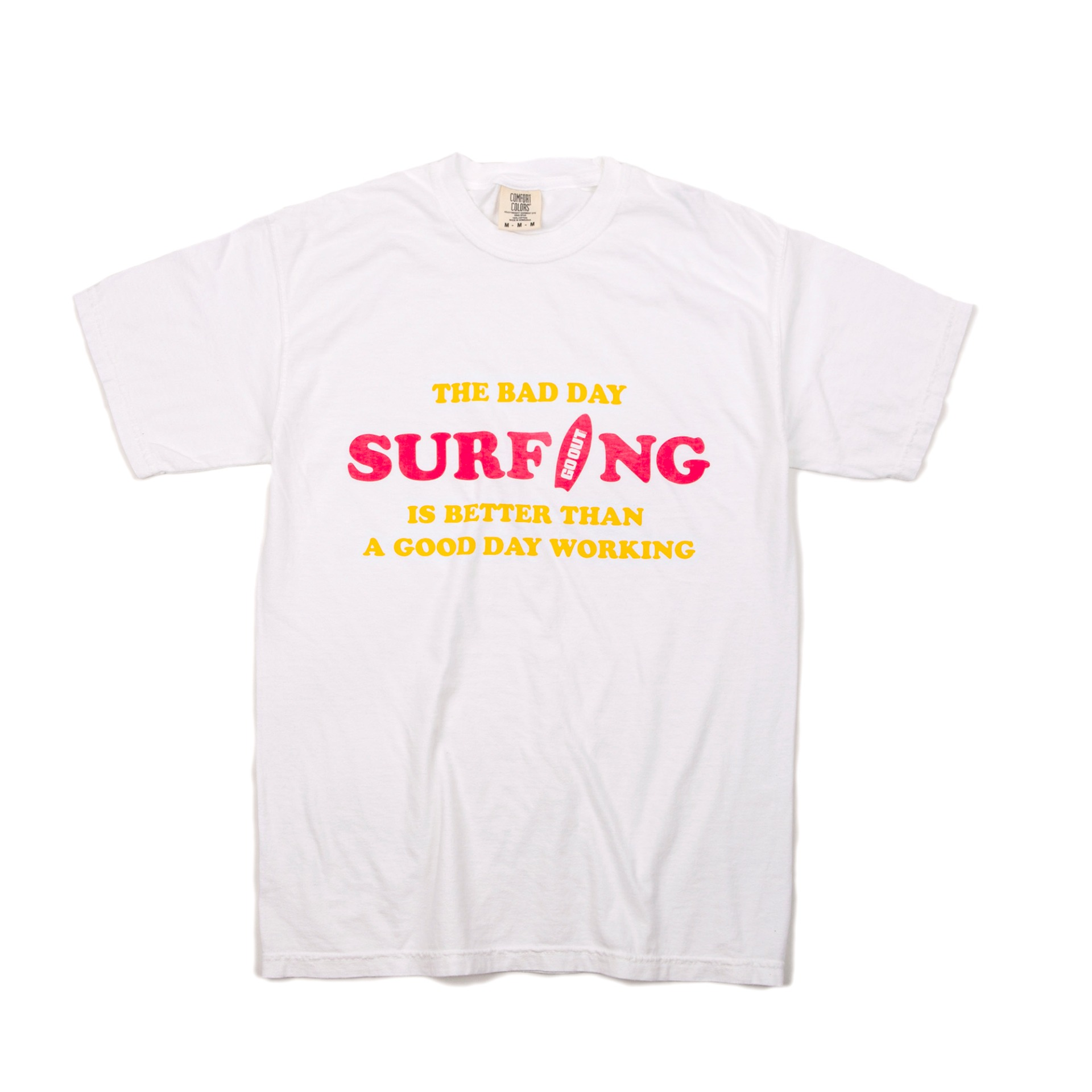 GARMENT DYEING BAD DAY SURFING S/S T-SHIRTS (WHITE)