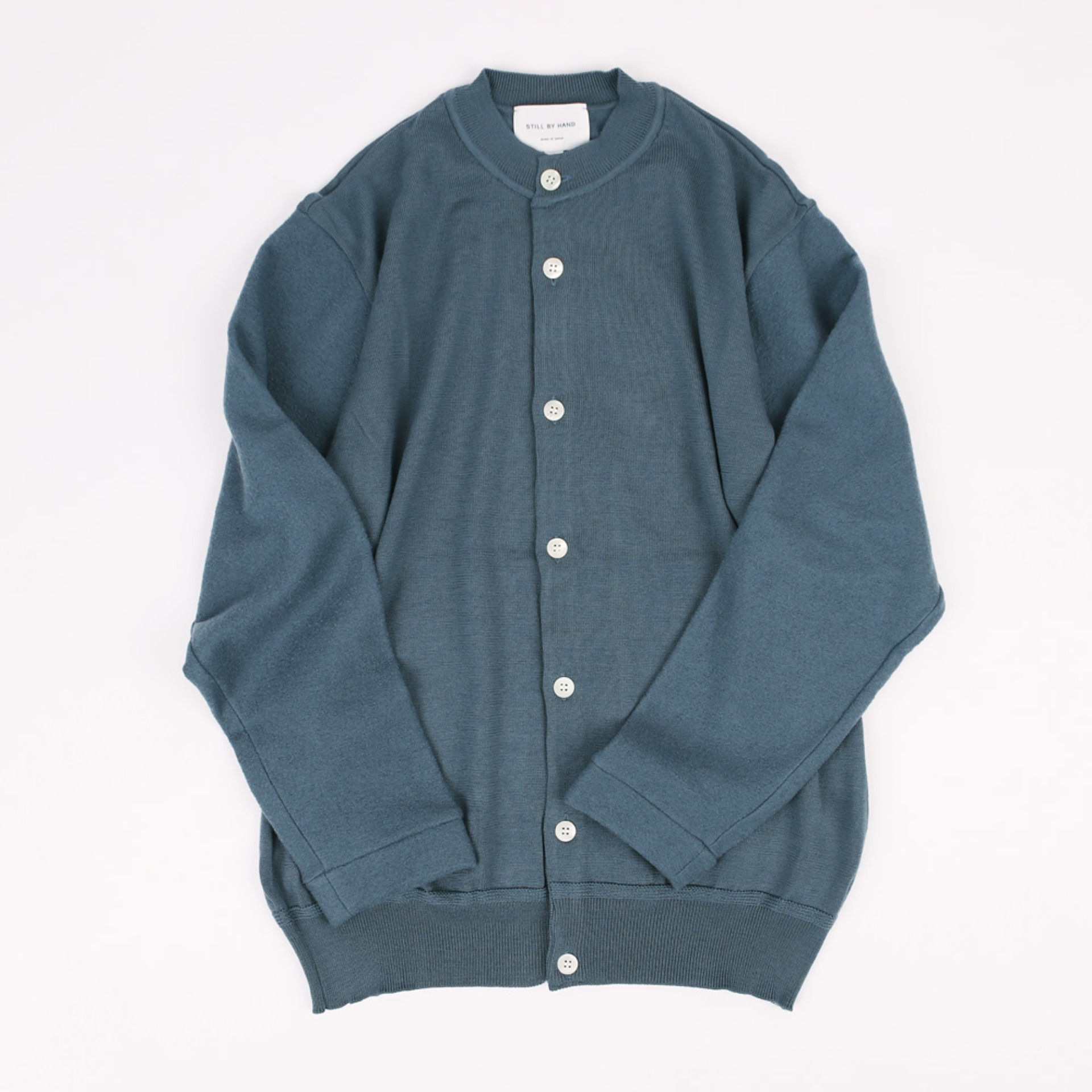 STILL BY HAND CREW NECK CARDIGAN Blue Gray