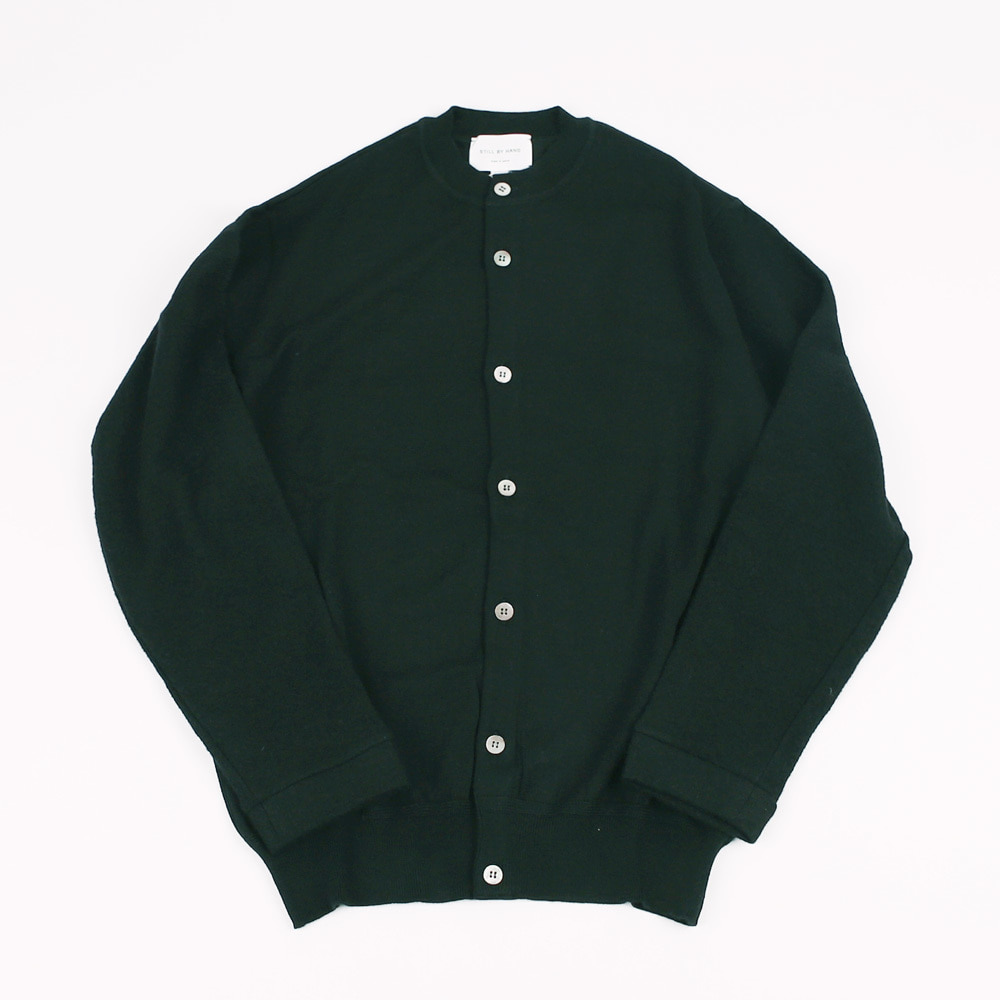 STILL BY HAND CREW NECK CARDIGAN Black