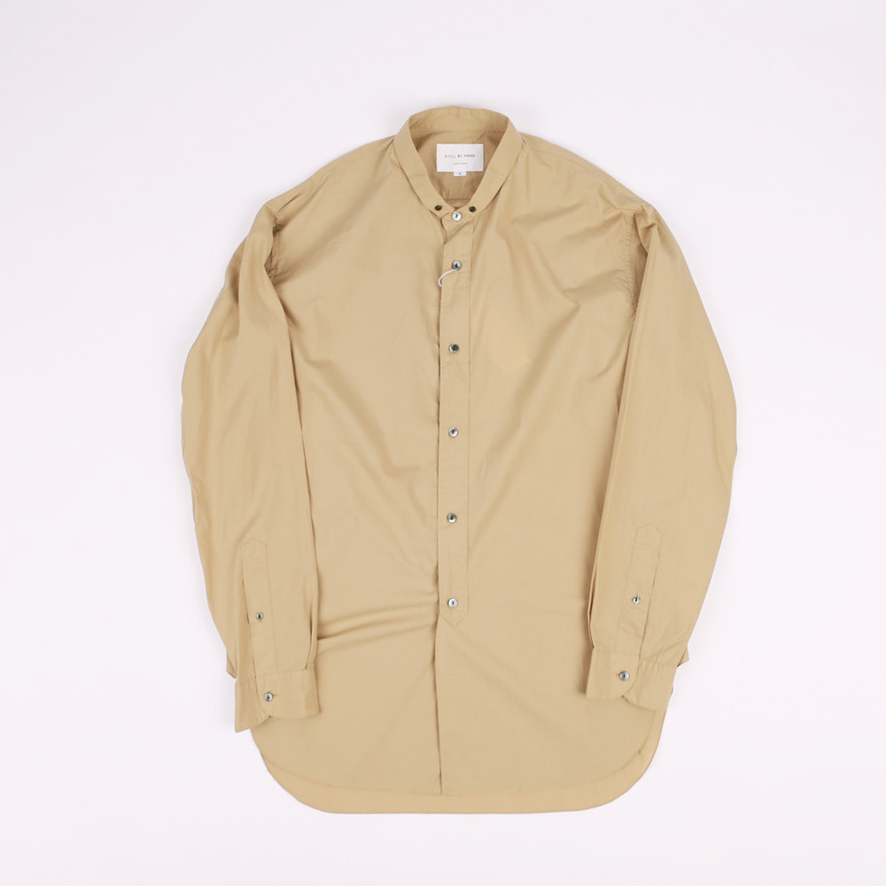 NARROW COLLAR LONG SHIRT (BEIGE)