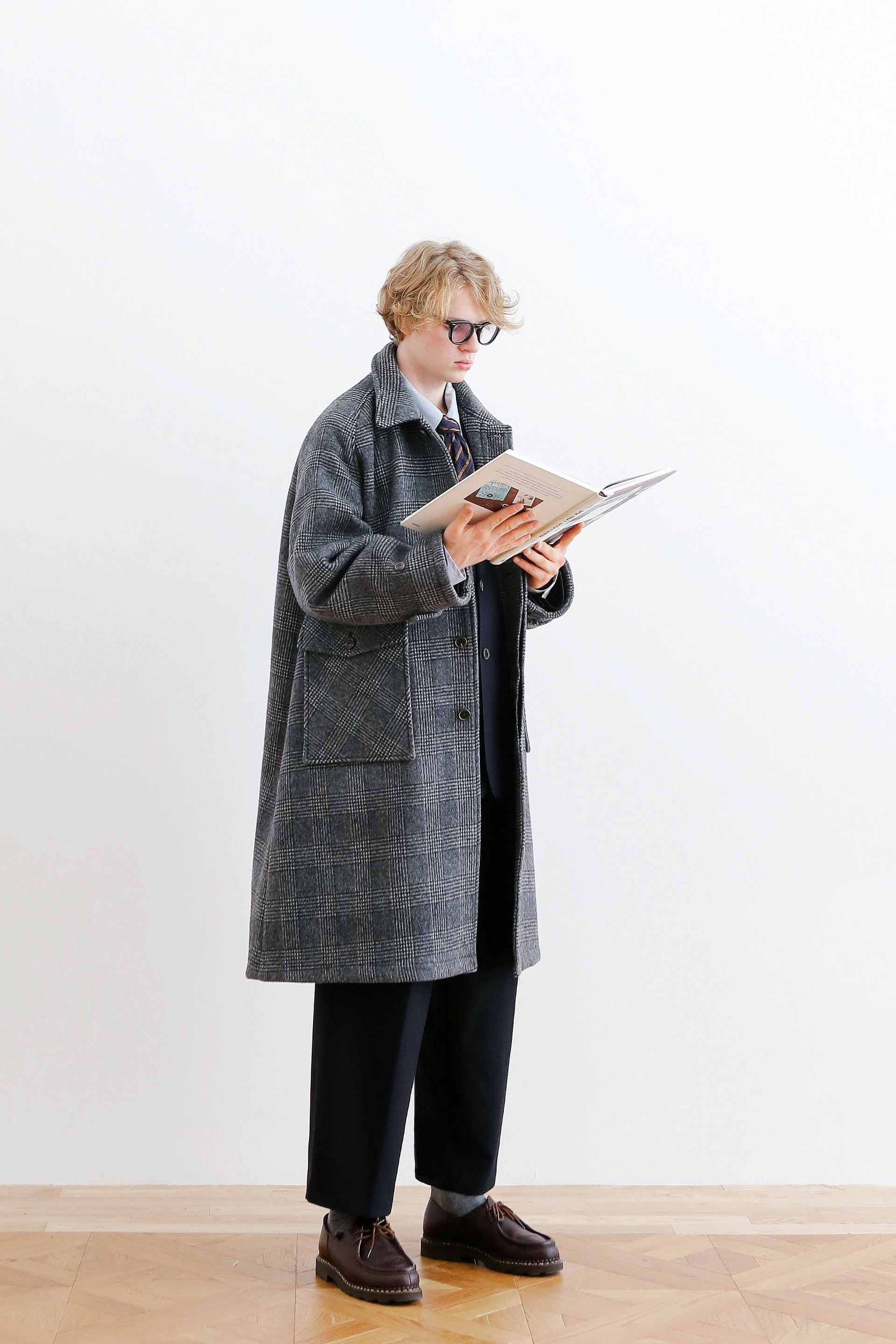 RECEPTION OVERSIZED HEAVY WOOL BALMACAAN COAT (GLEN CHECK)