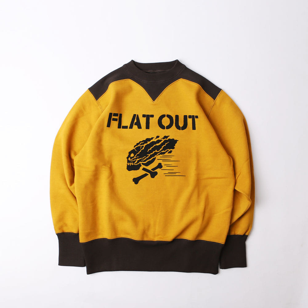"[Power Wear]Athletic SweatShirt""FLAT OUT""(OLD GOLD x SOOT BLACK)"