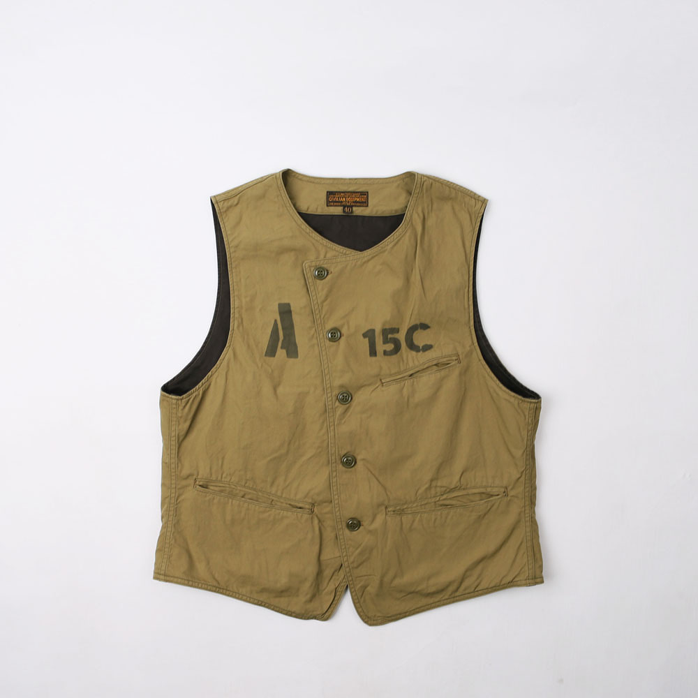"[Union Special Overalls]Military Vest""LIBERATOR""Army Ground Force - 15C Crew(Khaki Beige)"