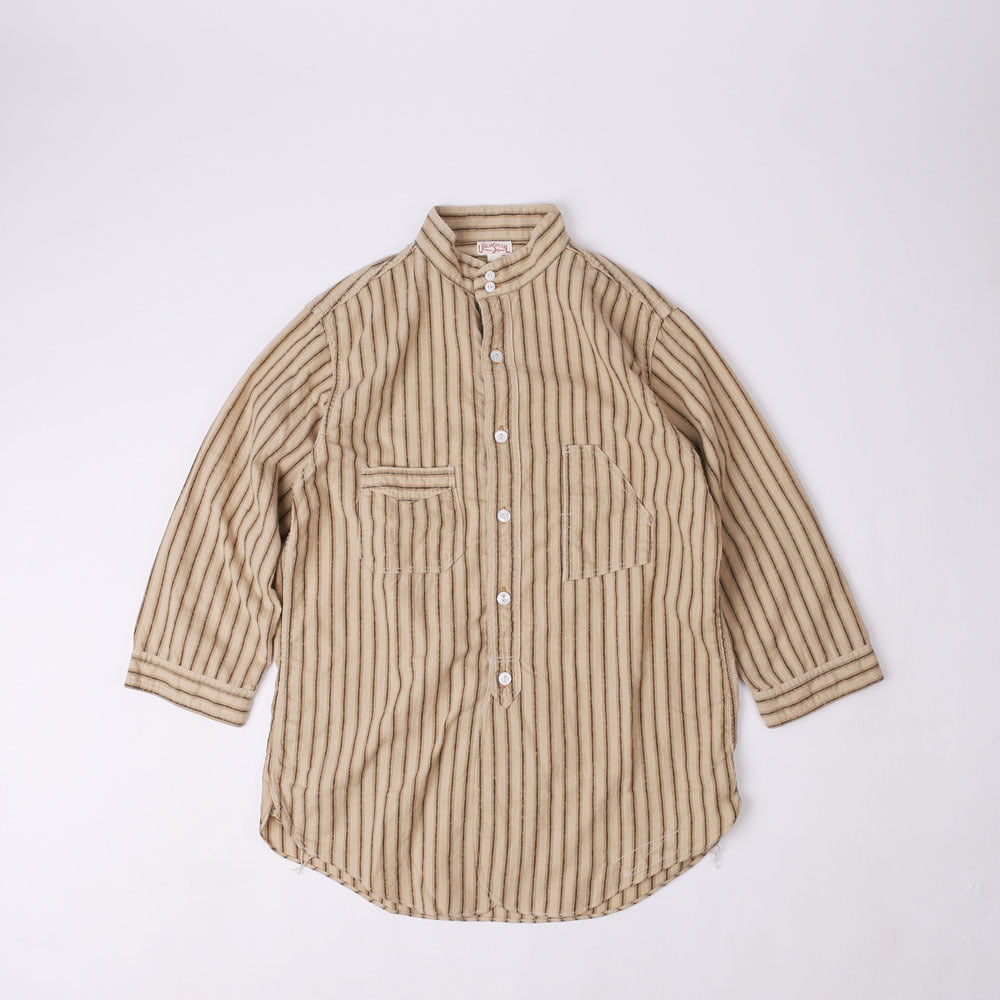 "[Union Special Overalls]Work ShirtThree Quarter Sleeve Shirt""The Skipper""(Mokha x Beige)"