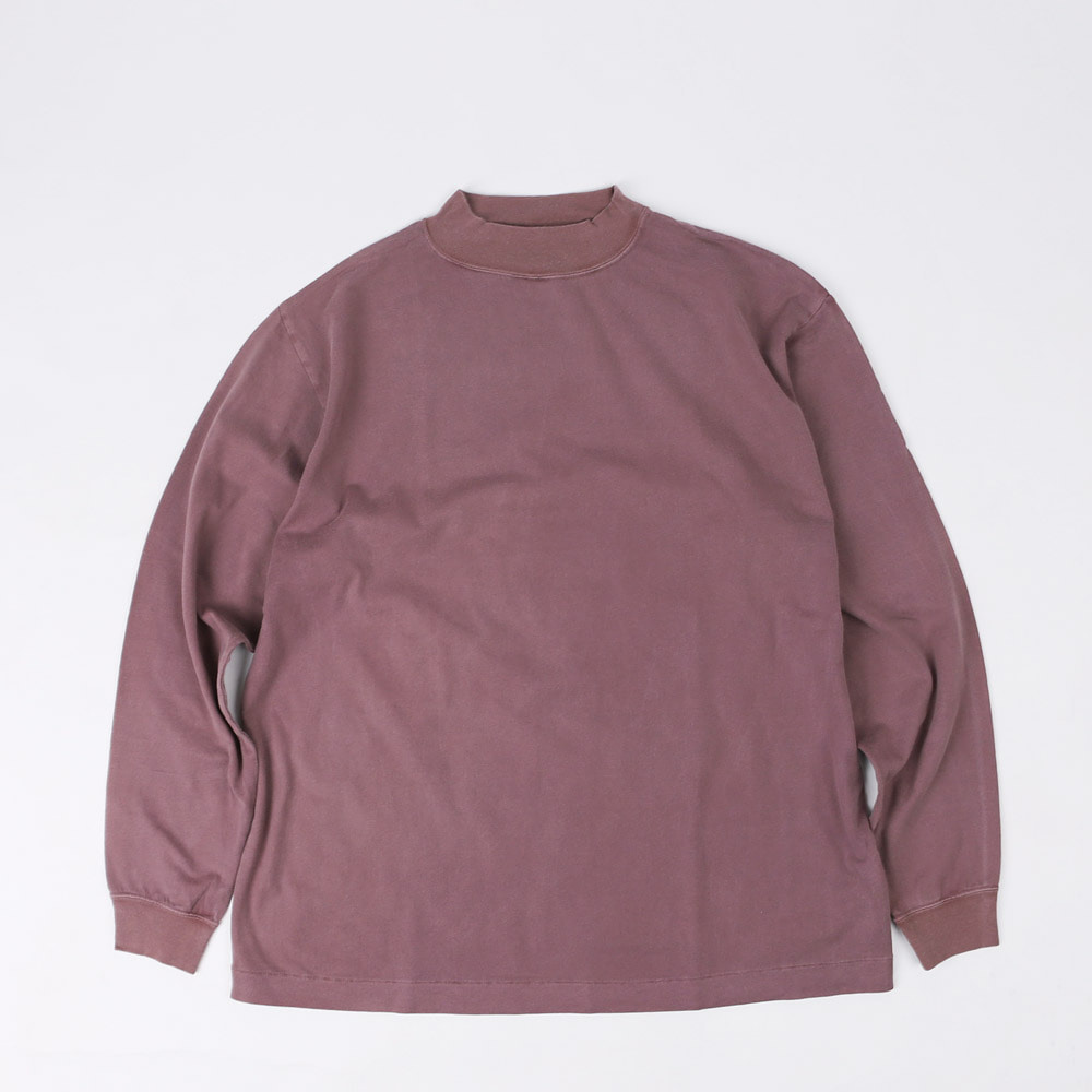 GARMENT DYED MOCK NECK L/S T-SHIRT (Purple)