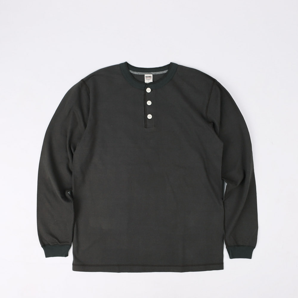 VINTAGE HENLEY NECK L/S T-SHIRT (Black)