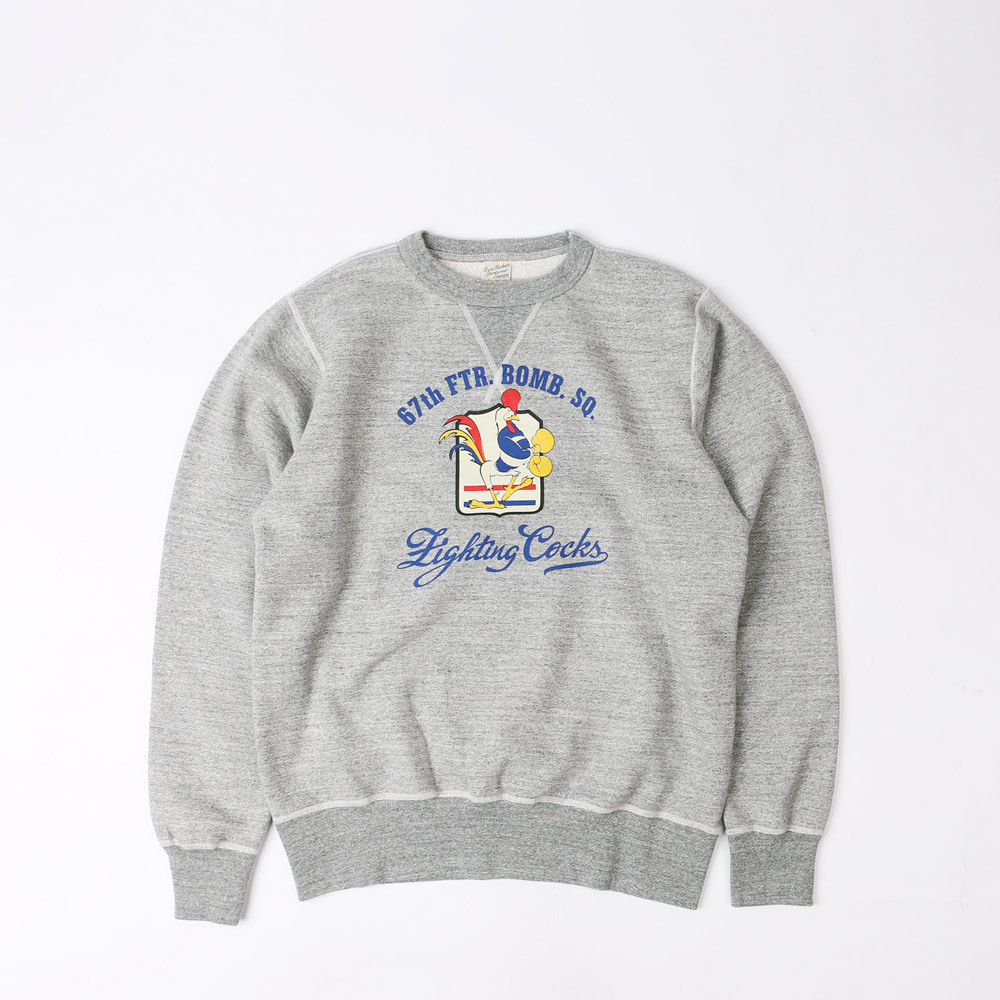 "LoopwheelSweatshirt ""67th FTR.BOMB.SQ. ""FIGHTING COCKS""(Heather Gray)"