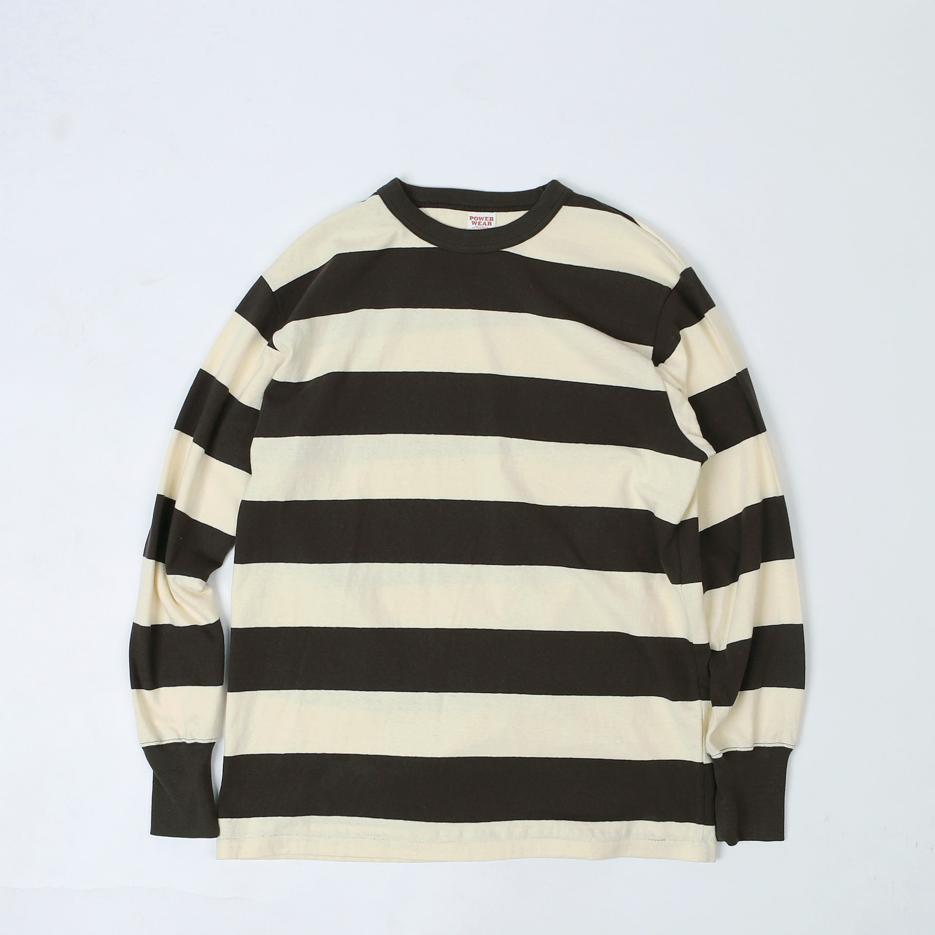 "[Power Wear]Long Sleeve T-Shirt""HORIZONTAL STRIPED""(Dry Cream × Chacoal Black)"